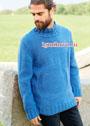 Мужской свитер с рельефным мотивом. Спицы