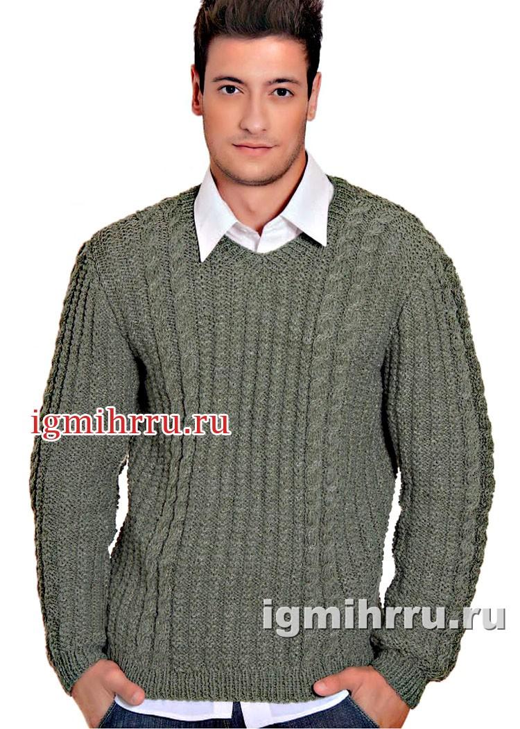 Зеленый пуловер мужской