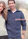 Мужской джинсовый пуловер с переплетениями и отложным воротником. Спицы