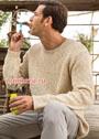 Мужской хлопковый пуловер бежевого цвета. Спицы