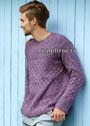 Мужской пуловер с клетчатым и жемчужным узорами. Спицы
