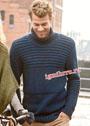 Мужской темно-синий свитер с поперечными грядочками. Спицы