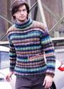 Мужской теплый свитер в полоску. Спицы