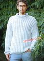 Мужской белый свитер из сплошных кос. Спицы
