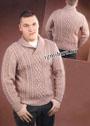 Мужской теплый пуловер с аранами и воротником шалька. Спицы