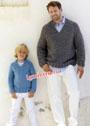 Для папы и сына. Теплый пуловер-реглан простой вязки. Спицы