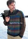 Мужской пуловер в шотландскую клетку. Спицы