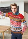 Мужской шерстяной пуловер с миксом жаккардовых узоров. Спицы
