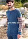 Теплый мужской пуловер с жаккардовыми рукавами. Спицы