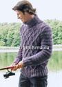 Мужской теплый свитер с узором из ромбов. Спицы