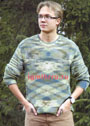 Меланжевый мужской пуловер с боковыми вставками. Спицы