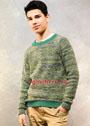 Повседневный мужской пуловер-реглан из секционно окрашенной пряжи. Спицы