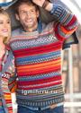 Мужской пуловер с разноцветными полосками. Спицы