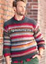 Мужской пуловер в разноцветную полоску. Спицы