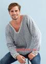 Мужской хлопковый пуловер с полупатентным узором. Спицы