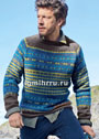 Мужской теплый пуловер с жаккардовыми узорами. Спицы