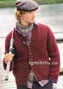 Мужской теплый жакет, связанный резинкой с косами. Спицы