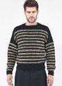 Мужской шерстяной пуловер в полоску. Спицы