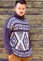 Мужской жаккардовый свитер с воротником гольф. Спицы