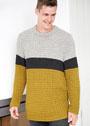 Мужской трехцветный пуловер со структурным узором. Спицы