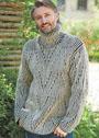 Мужской свитер с двухцветным патентным узором. Спицы
