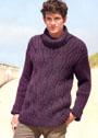 Мужской шерстяной свитер из кос и резинки. Спицы