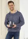 Мужской меланжевый пуловер с простым рельефным узором. Спицы