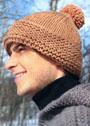 Мужская коричневая шапка с помпоном. Спицы