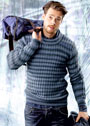 Мужской повседневный пуловер в полоску. Спицы