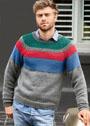 Мужской серый пуловер с цветными полосами. Спицы
