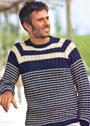 Двухцветный мужской пуловер с полосами. Спицы