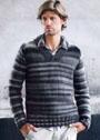 Мужской пуловер, связанный изнаночной гладью. Спицы