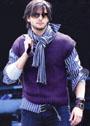 Мужской жилет с плетеным узором. Спицы