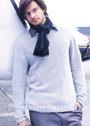 Мужской светло-серый кашемировый пуловер. Спицы