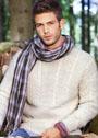 Мужской светлый пуловер с узорами из кос. Спицы