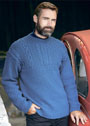 Синий мужской пуловер с узорами из кос и аранов. Спицы