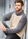 Мужской серо-бежевый свитер со структурным узором. Спицы