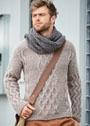 Мужской теплый пуловер с ромбами и зигзагами, дополненный длинным шарфом. Спицы