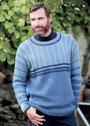 Мужской теплый пуловер с полосами разной ширины. Спицы