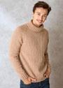 Мужской бежевый свитер с воротником гольф. Спицы