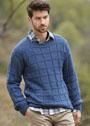Мужской теплый пуловер в рельефную клетку. Спицы