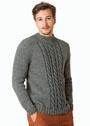 Серый мужской пуловер с косами. Спицы
