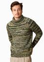 Мужской меланжевый свитер с воротником гольф. Спицы