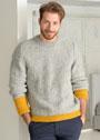 Мужской серый пуловер с желтыми вставками. Спицы