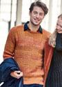 Мужской теплый пуловер со структурным узором. Спицы