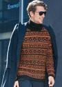 Мужской свитер с узорами из снятых петель. Спицы