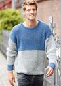 Двухцветный мужской пуловер, связанный неэластичной резинкой. Спицы