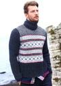 Мужской жаккардовый свитер в норвежском стиле. Спицы