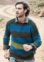 Мужской пуловер в широкую полоску и с треугольниками. Спицы