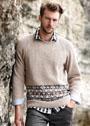 Мужской пуловер с бордюром из мелких жаккардовых узоров. Спицы